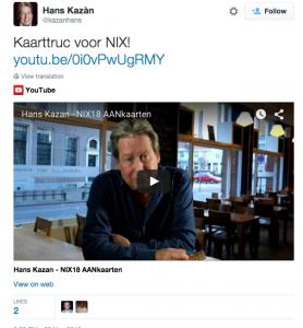 Hans Kazan op Twitter video