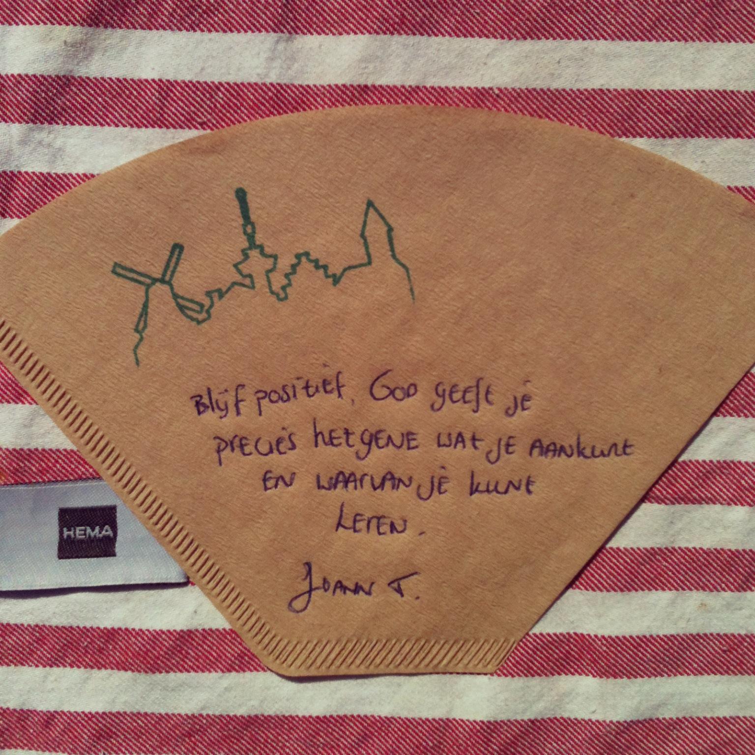de Koffiefilter van Joann Trustfull door Marie Louise van Dorp